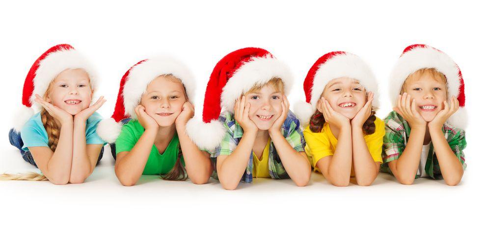 Children in santa hats